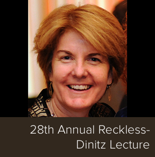 "Dr. Valerie Jeness with the words ""28th Annual Reckless-Dinitz Lecture"""