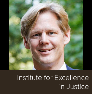 "Dr. Christopher Uggen with the words ""Institute for Excellence in Justice"""
